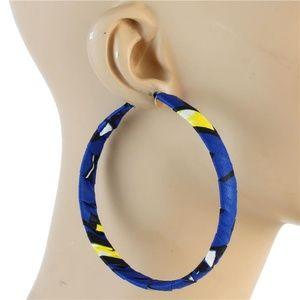 Blue Yellow Black White Fabric Print Hoop Earrings
